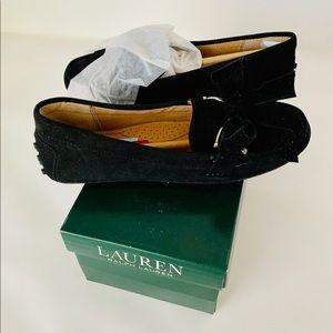Ralph Lauren Bayleigh Black Suede Loafers flats